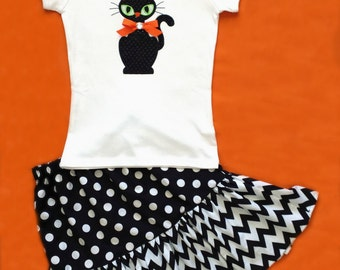 Halloween Girls Outfit, Girls Halloween Outfit, girls halloween set, Halloween Skirt, Chevron Skirt, Girl Halloween Cat Outfit
