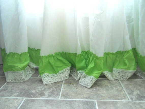 Lime green curtain ruffle curtain panel by thewelldressedwindow for Lime green curtains for bedroom