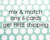 Mix & match - Set of 6 - Illustrated flat note cards