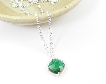 Emerald Green Pendant Necklace, Emerald Drop Necklace, Green and Silver Necklace with Silver Plated Chain |NB1-36