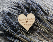 75 Customized Engraved Wooden Heart & Arrow Save the Date Wedding Magnet Favors