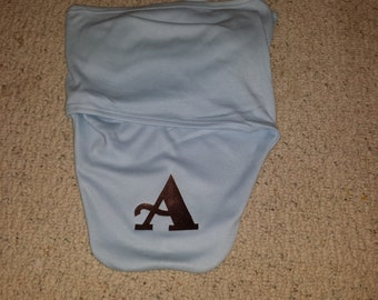 Monogrammed swaddle blanket in pink or blue