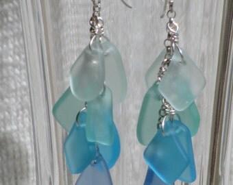 SEA GLASS Dangle EARRINGS Sterling Silver Cascading Aqua Seafoam Green Blue Handmade Earwire Beads