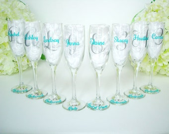8 Personalized Champagne Flutes - Bridesmaid Champagne Flute - Wedding Party Flutes - Bridesmaid Champagne Glasses - Wedding Party Favors