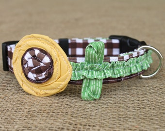 Ruffle Dog Collar - Fall Sunflower - Brown Gingham with Golden Yellow Sunflower and Green Ruffle Stem and Leaves