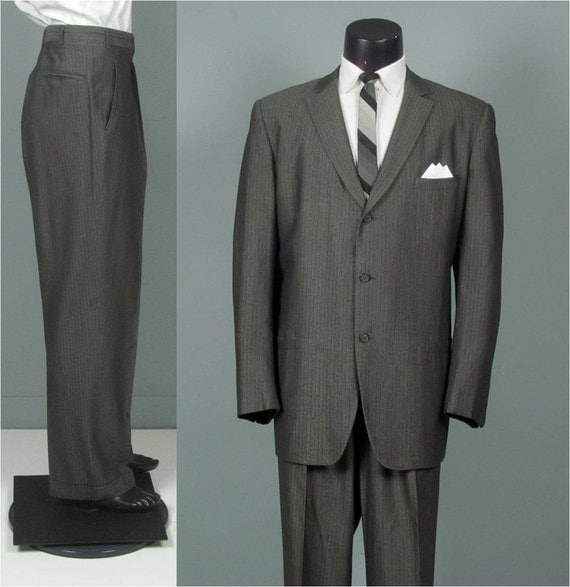 Vintage 1950s Mens Suit Big And Tall Mid Weight