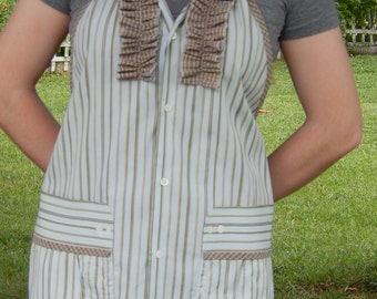 Sage Stripe Ruffle Front Apron from Man's Shirt