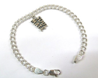 Sterling Silver Soul Mate Charm on a Silver Double Link Traditional Charm Bracelet-1806