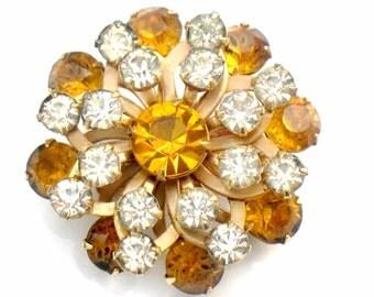 Sunburst Flower Brooch Austrian Crystal Vintage Yellow Sparkle Sunburst Flower Summer Collectible Jewelry For Women