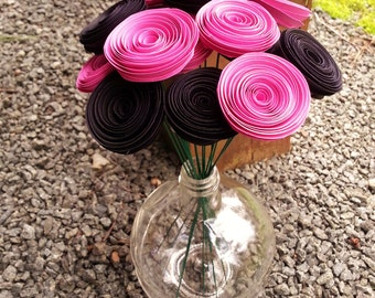 Paper Flower Bouquet - 16 Mini Black and Pink Paper Flowers - Handmade Paper Flowers for Brides, Weddings, Showers, Mother's Day