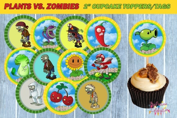 PLANTS vs ZOMBIES TAGS Cupcake Toppers Plants vs Zombies