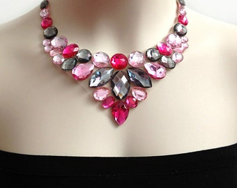 bib necklace - pink and grey rhinestone bib necklace - bridesmaids necklace, prom wedding necklace gift or for you NEW