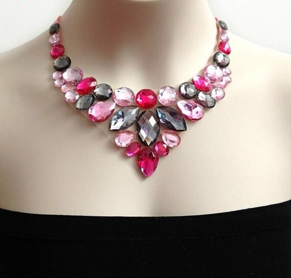 bib necklace pink and grey rhinestone bib necklace
