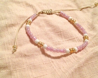 Beachy Chic Adjustable Beaded Bracelet- Pink White & Gold