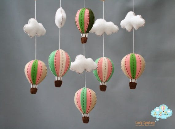 Vintage peach baby mobile - peach and mint green baby mobile