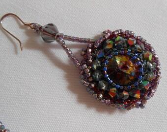 Peacock Haze Fringe Earring/OOAK
