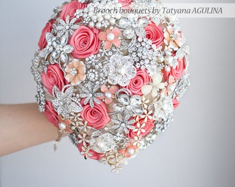 Cascading Brooch bouquet. Coral, Ivory and Silver wedding brooch bouquet, Jeweled Bouquet. Made upon request