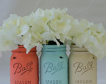 Coral, Turquoise, Cream Painted & Distressed Mason Jars – Mason Jars in Coral, Blue, Cream
