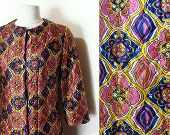 60's Patterned Robe Quilted Satin Psychedelic