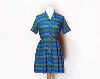 50's Bright Plaid Dress Cotton Shirtwaist