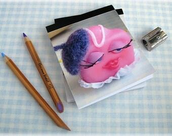 Cake Mini Notepad Pocket Sized Handy Tablet Jotter French Fancy Pink Fondant Fun Illustration