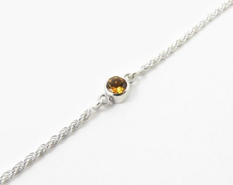 Citrine birth stone bracelet, personalized bracelet in sterling silver - November birthstone