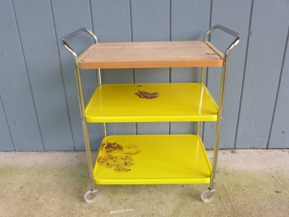 cart with butcher block wood top retro yellow 3 tiered metal kitchen