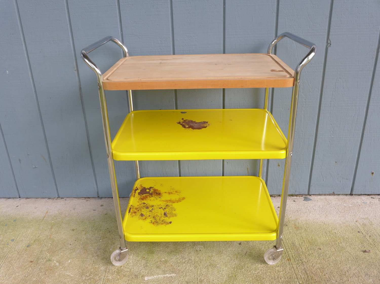 Vintage Metal Kitchen Cart Vintage Cosco Cart With Butcher Block Wood Top Retro Yellow 3