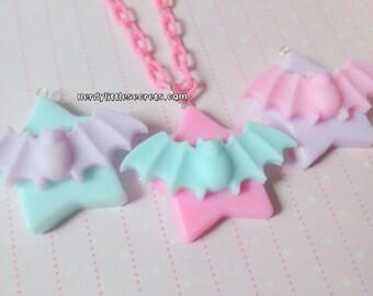 Pastel Halloween Creepy Cute Bat Star Necklace