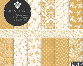SALE Gold digital paper. Floral and damask patterns for photography backgrounds. Flower, damask, chevron in gold & off-white for wedding.