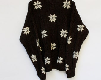Vintage Brown Wool Sweater / Lands End Snowflake Sweater / Cocoa Oversized Sweater / Womens Sweater One Size BF XL Plus