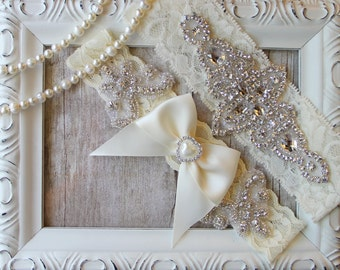 "Garter Set -Customizable Wedding garter - Garter Set w/ ""Pearls"" and Rhinestones, Wedding Garter Set, Crystal Garter, Something Blue"