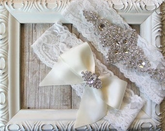 CUSTOMIZE Your Garter - Vintage Wedding Garter Set w/ Crystal Rhinestones on Comfortable Lace, Bridal Garter Set, Crystal Garter Set