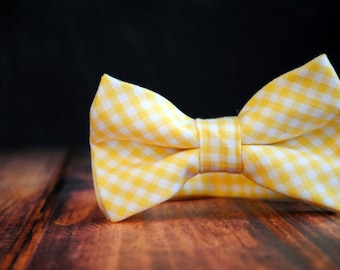 Bow Tie - Newborn, Infant, Toddler, Boy - Yellow Gingham