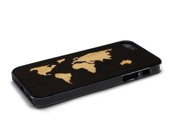 iPhone 5 Case Wood World Map Inlay Wenge Maple, Wood iPhone SE Case, iPhone 5S Case Wood
