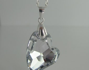 Sparkling Silver heart necklace, 27mm Swarovski Crystal Element Asymetric Heart pendant mounted on a Sterling Silver 925 bail