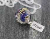 Pet Cremains Handmade Lampwork Glass Bead Necklace And Hand Stamped Tag