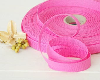 "Fuchsia Cotton Ribbon - 3 or 6 Yards of 100% Cotton Ribbon - 1/2"" wide - Loose Weave Pink Ribbon - Buy More and Save - Eco Friendly ribbons"