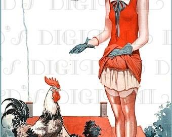 SAUCY French Flapper Feeds The Rooster! Art Deco LA Vie Parisienne Vintage Illustration. Printable Art Deco Flapper Digital Download.