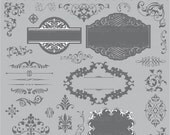 GRAY wedding 31 Digital Frames clip art clipart with Digital Paper pack - scrapbook, tags, invitation, stationary 0438