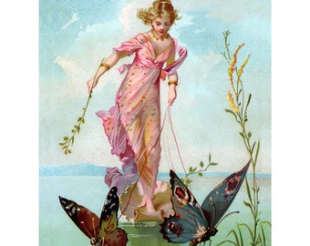 Butterfly Fairy Fabric | Butterflies Pull Shell Chariot | Victorian Image