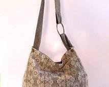Crochet Hobo Bag, Casual Big Bag, Boho Chic Bag, Big Shoulder Bag, Crossbody Hobo Bag, Canvas hobo Bag