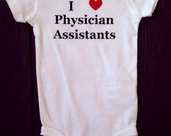 I heart physician assistants PA baby bodysuit gift