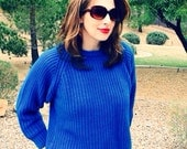 Vintage 1980s Bright Cable Knit Blue Sweater Small
