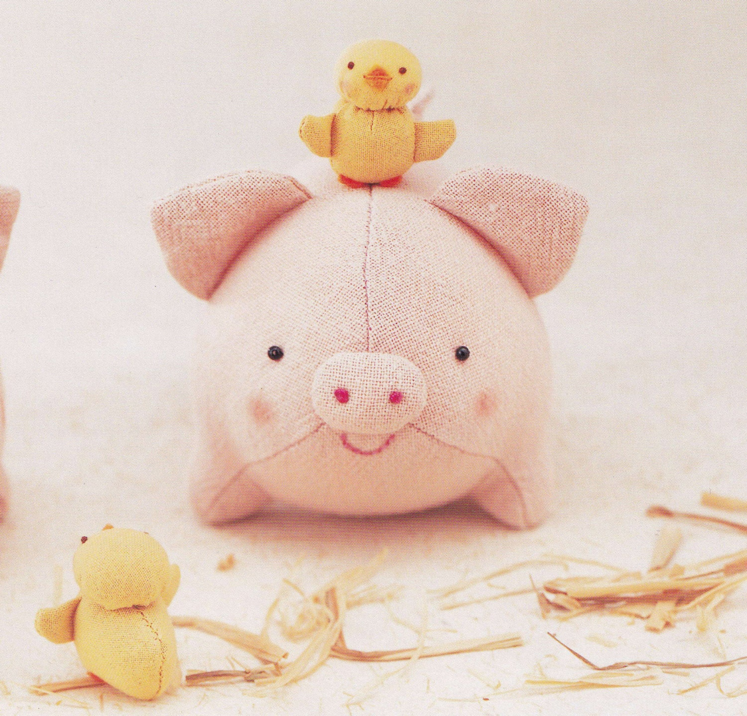 cotton linen cute pig and chicken plush plushies stuffed toy