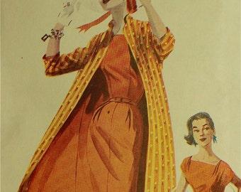 """Coat, Dress & Belt -1950's - Retro Butterick Pattern 6632  Uncut  Sizes 6-8-10  Bust 30.5-31.5-32.5"""""""