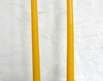 "Pair Beeswax 12"" Taper Candles Hand Crafted By The Beekeeper"