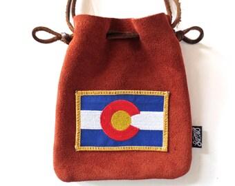 LoopyQ Cinnamon Colorado Flag Medicine Pouch, FannyPack, Hip Bag, CrossBody Satchel... perfect item for Red Rocks Amphitheatre!