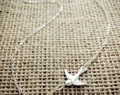 Sideways Sterling Silver Sparrow Necklace