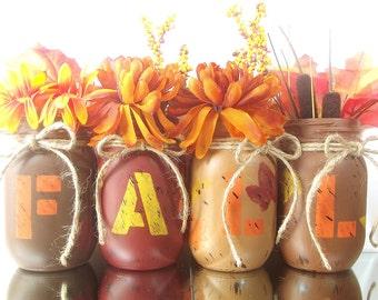 Fall Decor, Mason Jar Vase Set, Hand Painted Mason Jars, Rustic Home Decor, Country Home Decor, Farmhouse Decor, Housewarming Gift